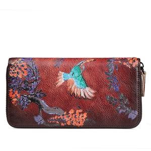 Image 3 - Portefeuille de luxe, en cuir véritable, doiseaux du sud, pochette en relief, sac de téléphone de bonne qualité