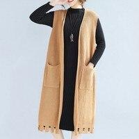 KYMAKUTU מוצק אופנה אפודות לנשים מעיל עם כיס Sueter Mujer כל התאמת סתיו החורף אלגנטי גבירותיי Jumper 3 צבעים