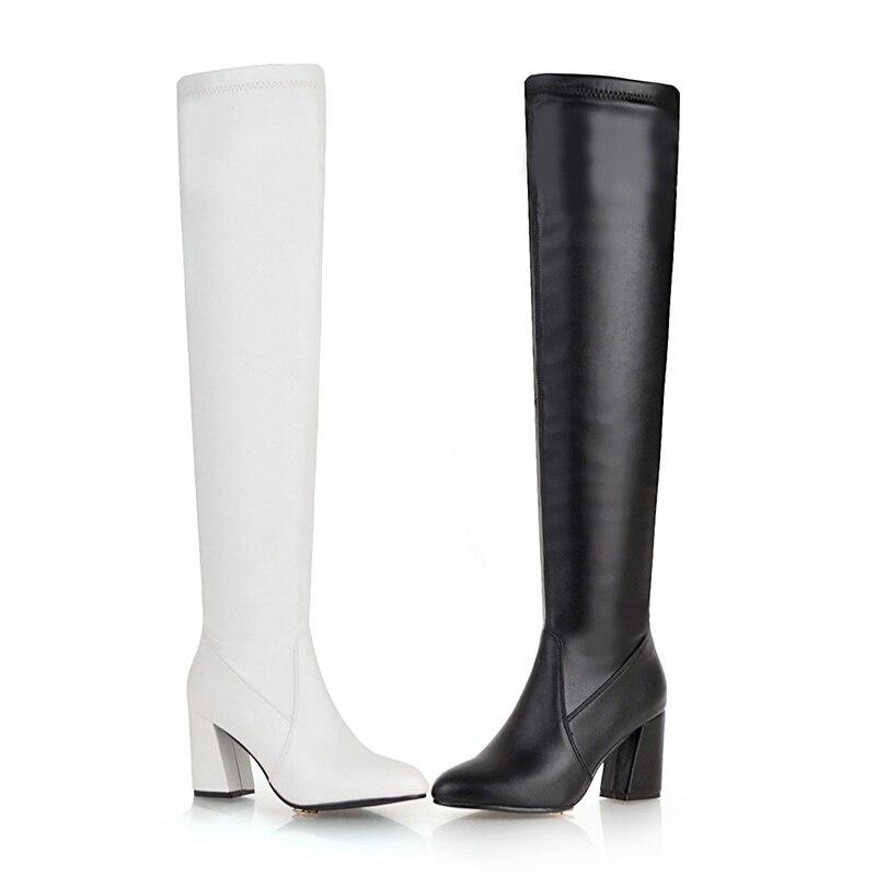 Big Knee alti On Thick scarpe Tacchi bianco nero Boot Donna Nero caldo punta Size Novità a Pu bianco 2018 48 Inverno Wetkiss Stivali 5aq4Fwxx