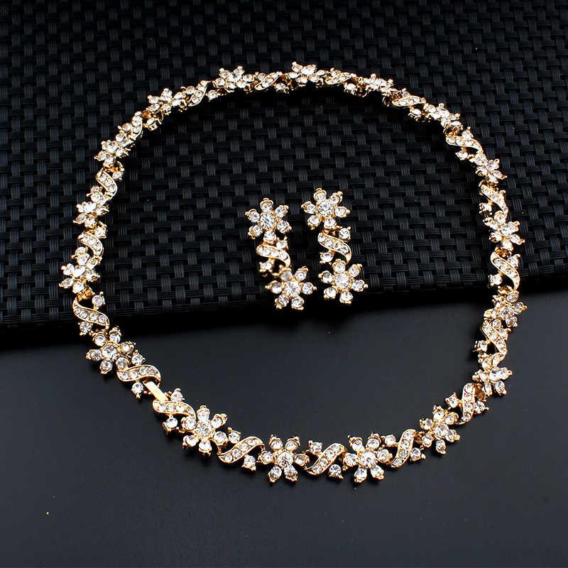 76762a1d7ff1 ... Jiayijiaduo Dubai Color oro collar pendientes para las mujeres joyería  de la boda de cristal accesorios