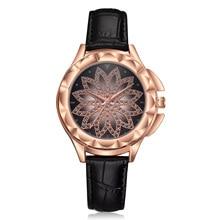 цена на Luxury Ladies Watch Rose Gold Lucky Flowers Diamond Watch Women Fashion Leather Quartz Wristwatches Women's Quartz Watch Clock