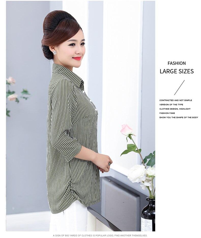 Women Casual Shirts Vertical Stripe Blouses Woman Three Quater Sleeve Top Mother Leisure Shirt Green Black Khaki Stripes Blouse (11)
