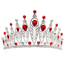 Princess Crystal crown queen bridal Tiaras bride crown with earrings headband Wedding Accessories diadem mariage hair jewelry red crystal wedding crown queen tiara bride crown headband bridal accessories diadem mariage hair jewelry ornaments