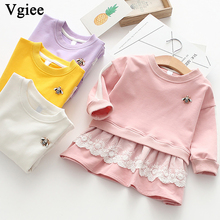 Vgiee Dress for Baby Girls Dresses 2019 Autumn Party Princess Dress Full Solid Patchwork Girls Clothing CC298