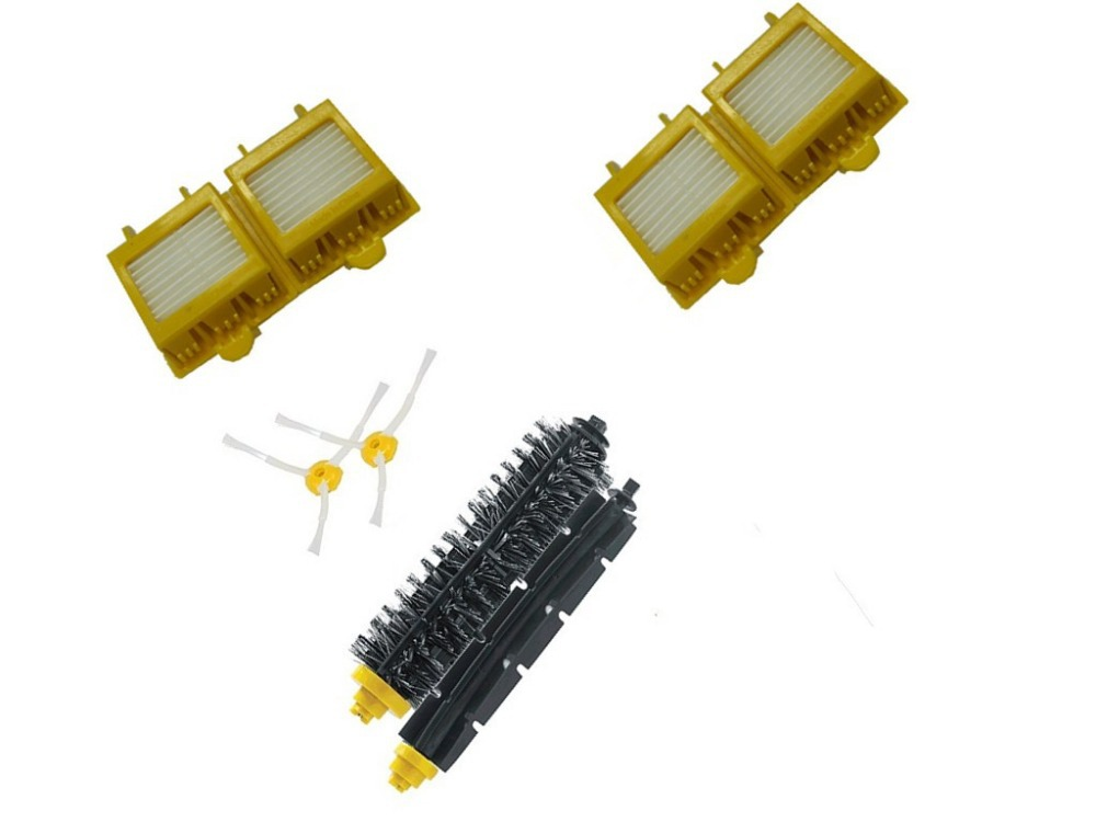 Hepa Filter+arm Side Brush+Bristle and Flexible Beater Brush for iRobot Roomba 780 770 790 3 arm side brush