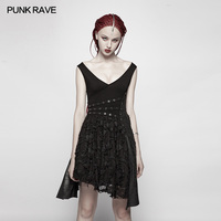 Punk Rave Casual Sexy Black Tattered Fashion Sleeveless Pu Leather Women Deep V Dress WQ384