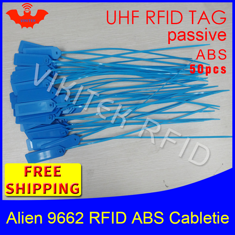 UHF RFID tag ABS cable tie Alien 9662 915mhz 868mhz 860-960MHZ Higgs3 EPC ISO18000-6C 50pcs free shipping smart passive RFID tag
