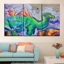 One Set 3 Pcs Abstract Camel Painting Canvas Print Type Wall Spray Paint Colorful Artistic Animal Poster Modern Home Decor