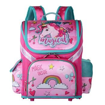 d1110b79dc9b Начальная девочка рюкзак школьный 2019 новый детский Единорог цветочный  Детский рюкзак на молнии ортопедический школьный портфель