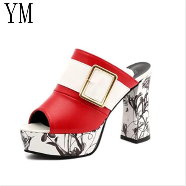 3Color Fashion Summer Women Elegant Buckle High Heel Sandals Peep Toe Platform Shoes Sexy Chunky Heel Shoes Lady Thick Heel 40