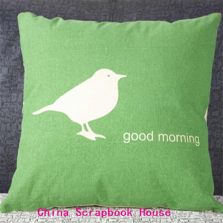 PANFELOU 42*42cm super bird call you good morning green disciple Pillow Case for livingroom bedroom settee