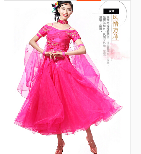 Chonggeshangwu Store S-XXL Ballroom Dance Dress  10 colors WomenLady Clothing cha-cha Competition dress Bue red black Modern Dance Tango waltz  Skirt