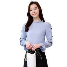 Women's Shirt Stitching Bow Solid Color Top Female Trumpet Sleeve Chiffon Shirts Blouse Blusa Women Shirts layered trumpet sleeve botanical top
