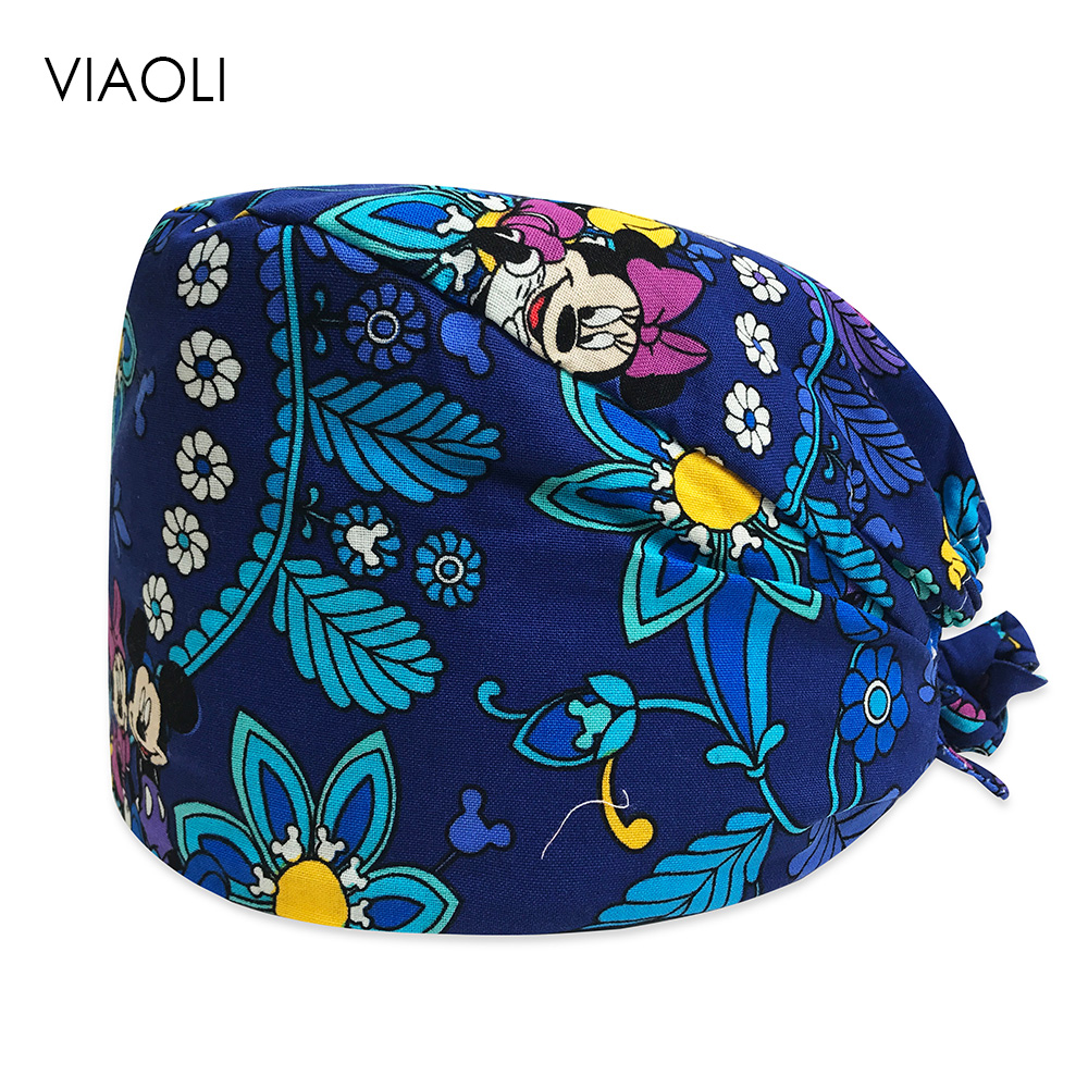 Male Doctor Surgical Cap Cartoon Print Scrub Cap Pet Grooming Doctor Work Cap Cotton Medical Use Doctor Accessories Nurse Cap