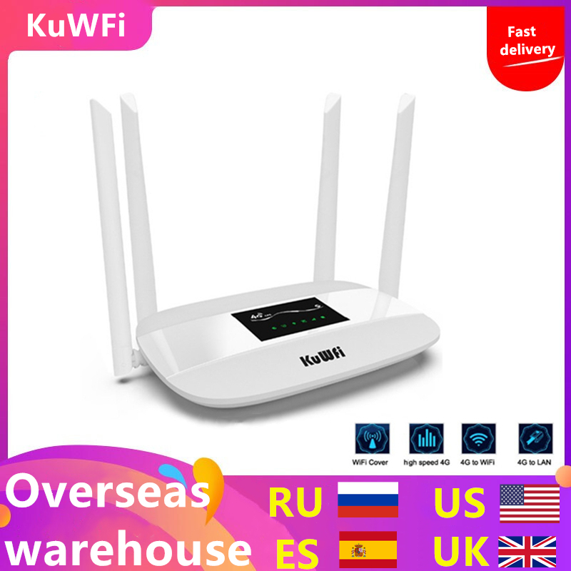 300Mbps Unlocked 4G LTE Wifi Router, Indoor 4G Wireless CPE Router with 4Pcs Antennas and LAN Port&SIM Card Slot Up to 32users-in Wireless Routers from Computer & Office