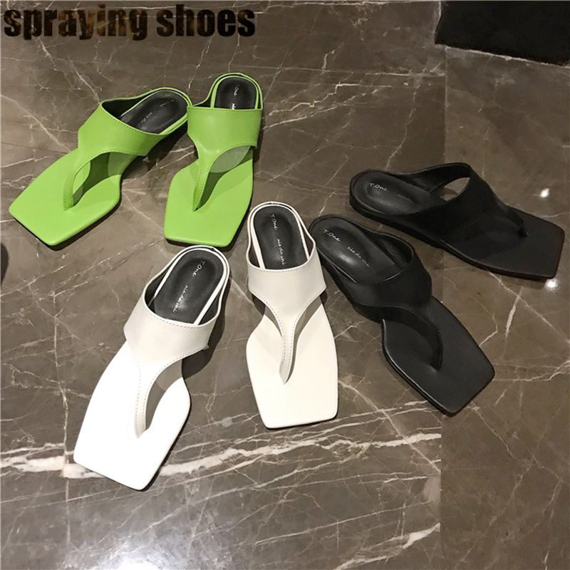 Mode bout carré femmes pantoufles plates néon vert/noir/blanc PU cuir diapositives Sexy dame tongs d'été plage sandales chaussures