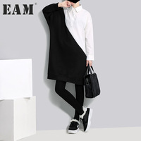 EAM 2018 New Spring Lapel Long Sleeve Black White Split Joitn Big Size Solid Color