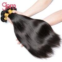 ペルーストレートヘア宝石美容100%人間の髪織りエクステンションナチュラルブラック1ピース非レミー髪織りこと購入3/4バンドル