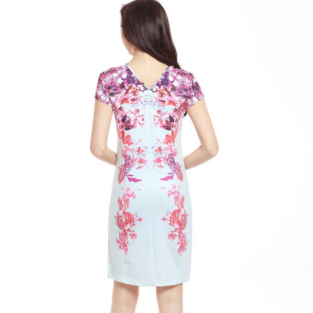 7203888fc082e 2017 Women Summer Style Slim White Dress Pink Flower Floral Printed Elegant  Work Office Party Bodycon Pencil Dresses vestidos-in Dresses from Women's  ...