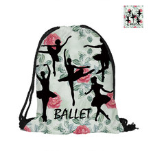 Ballet Girls Painting Drawstring Backpack Flowers Background Fashion Polyester Bags For School Pouch Backpacks(China)