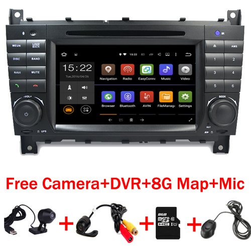 цена на 7HD 1024x600 Quad core Car DVD Android 7.1 for Mercedes/Benz C Class W203 c200 C230 C240 C320 C350 CLK W209 GPS Radio WiFi 3G