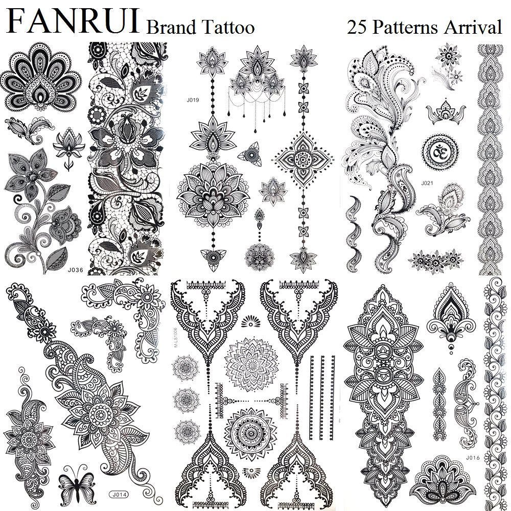 US $0.77 10% OFF|Pandents Jewel Black Temporary Tattoo Henna Mandala Flower  Arm Hand Tattoo Stickers Girls Body Leg Art Fake Lotus Tatoo Sleeve-in ...