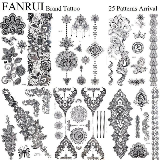 Pandents Jewel Black Temporary Tattoo Henna Mandala Flower Arm Hand