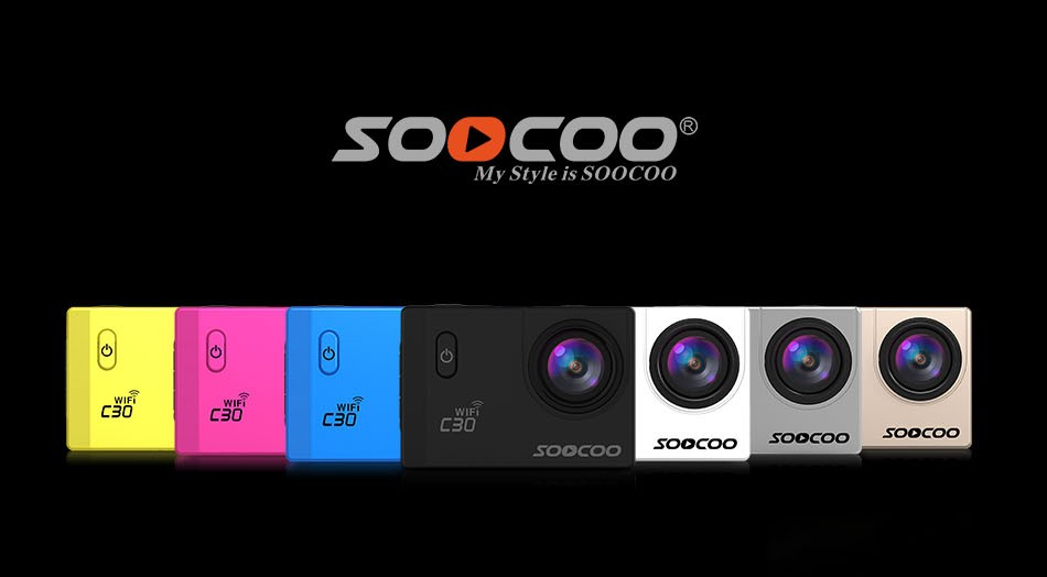 SOOCOO C30 Wifi 4K Gyro Adjustable Viewing angles(70-170 Degrees) 2.0 LCD NTK96660 Diving 30M Waterproof Action Sport Camera