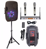 STARAUDIO 15 2500W Powered Active Karaoke Bluetooth PA DJ Speaker W LED Light Stand 2CH UHF