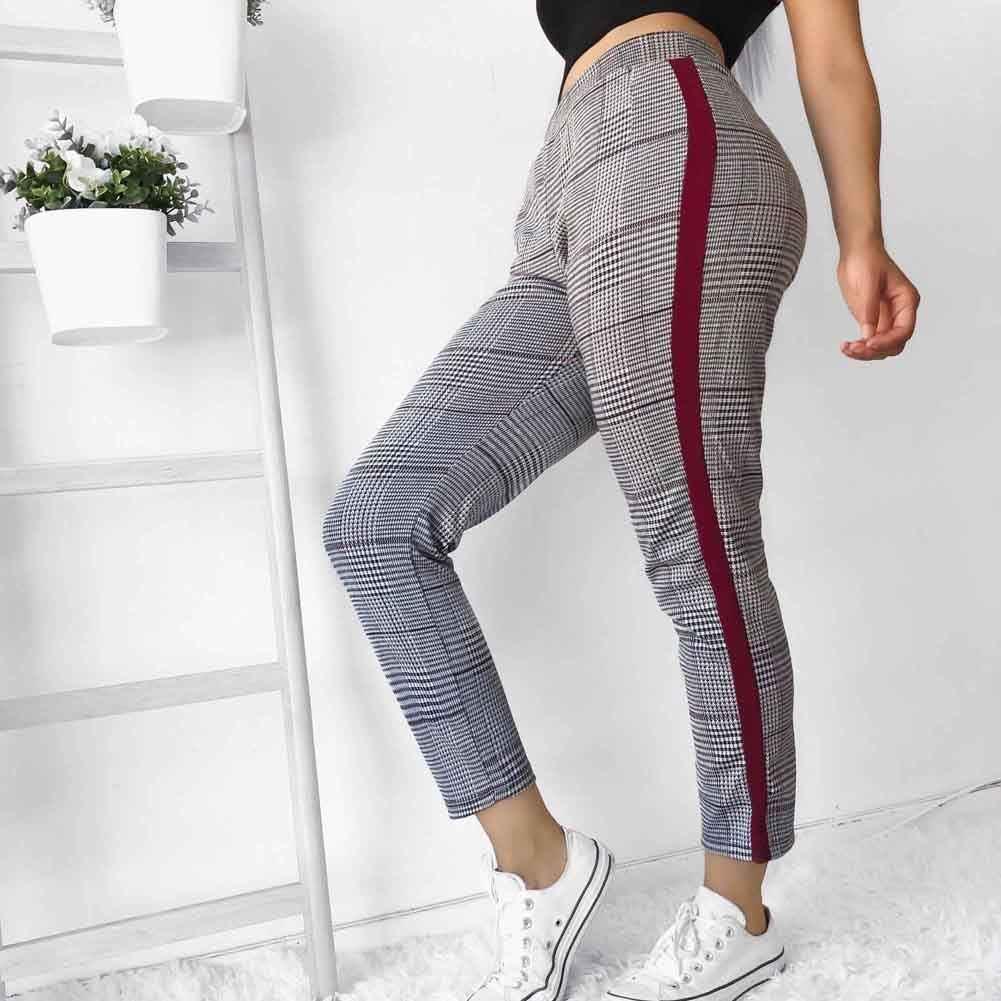 b7bb5669d0a2 Women Casual Stretch Skinny Pants Elegant Check Plaid High Waist Pencil  Pants Fashion pantalon femme Striped