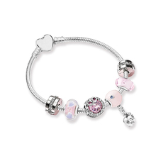 2018 Authentic 925 Sterling Silver Original Pink Love Pandora Bracelet Set Clear CZ Fit Women Bangle Bead Charm DIY Jewelry