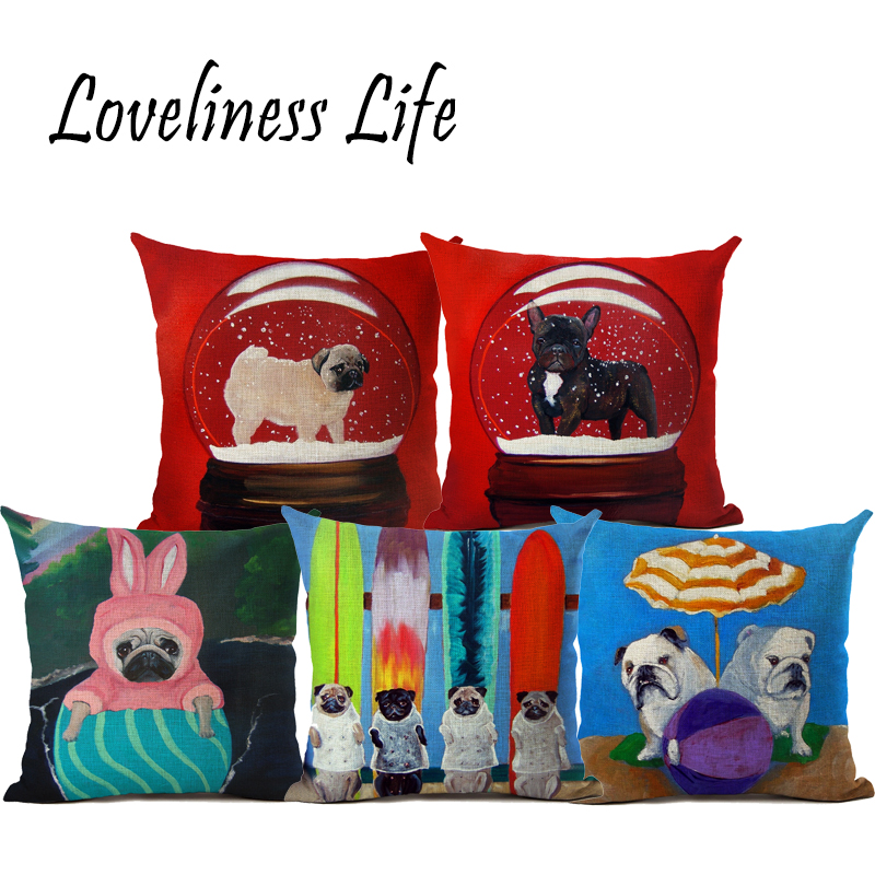 New Fashion Animal Cushion Cover Pug Dog Children Decorative Sofa Throw Pillow Car Chair Home Decor Pillow Case Cojines Almofada