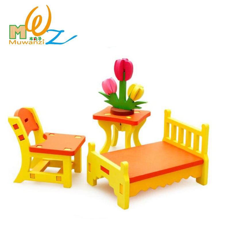 Mwz 3d dormitorio de madera ni os puzzle educativo for Muebles de madera para ninos