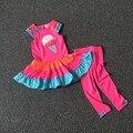 Baby Дети Одежда Платье + Леггинсы 2 Шт. Костюм Мороженое Pattern Дети Мода Наряд Одежда Set100 % Хлопок Для 1 ~ 8 Год