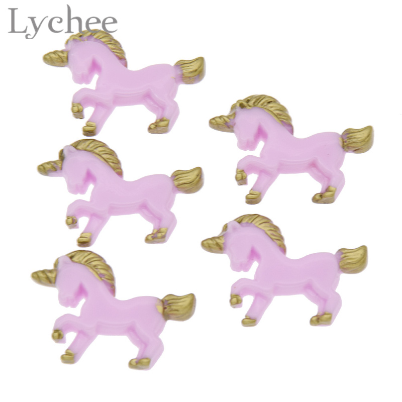 Lychee 5pcs/lot Cute Multi Color Animal Unicorn Horse Charms DIY Jewelry Making Crafts Making Accessories