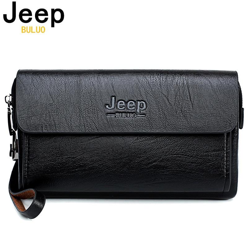 JEEP BULUO de la marca de lujo de los hombres de bolso día embragues bolsas para teléfono y pluma de alta calidad derramada carteras de cuero a mano bolso de hombre