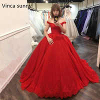 Luxury Princess Red Wedding Dresses 2018 New Ball Gown Sweetheart Lace Appliques Court Train Wedding Bridal