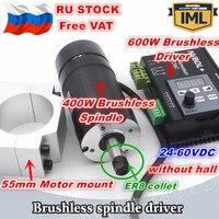 [RU STOCK] 400W Brushless Motor Driver NVBDL Without Hall& BL Engraver Spindle Motor 48VDC ER8