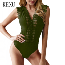 KEXU Transparent Lace Patchwork Bodycon Sexy Bodysuits Sleeveless Hollow Out Rompers Womens Jumpsuit Beachwear Summer Playsuit