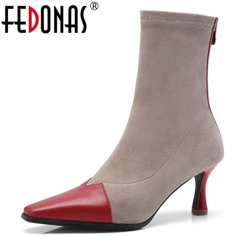 FEDONAS Retro Brand Top Quality Women Autumn Winter Socks Boots Sexy Pointed Toe Long Shoes Woman Martin Shoes Sexy High Boots top sexy woman top