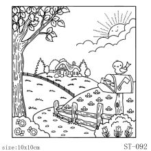 ZhuoAng Country Landscape Design Clear Stamp / Scrapbook Rubber Craft Card Seamless