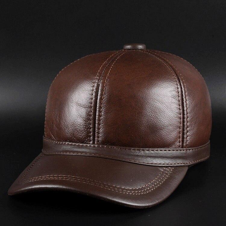 Décontracté en cuir véritable chapeau mâle peau de vache casquette de baseball dôme en cuir chapeau quinquagénaire en plein air chaud chapeau