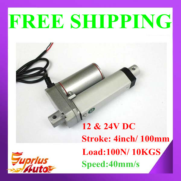 цена на 4inch/ 100mm Stroke with 100N/10KGS Force-Free Shipping ! 12/ 24V DC High Speed 40mm/s Mini Linear Actuator