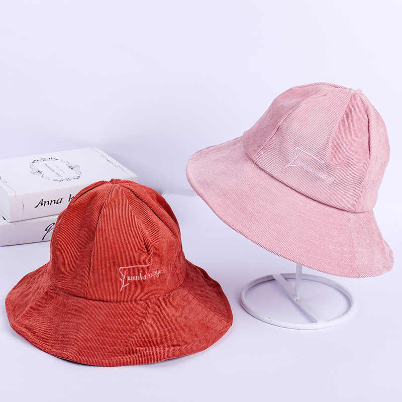 ea4a4fca46a9f4 New Korean embroidery letters autumn and winter hat women Corduroy  fisherman hat Big sunscreen leisure basin