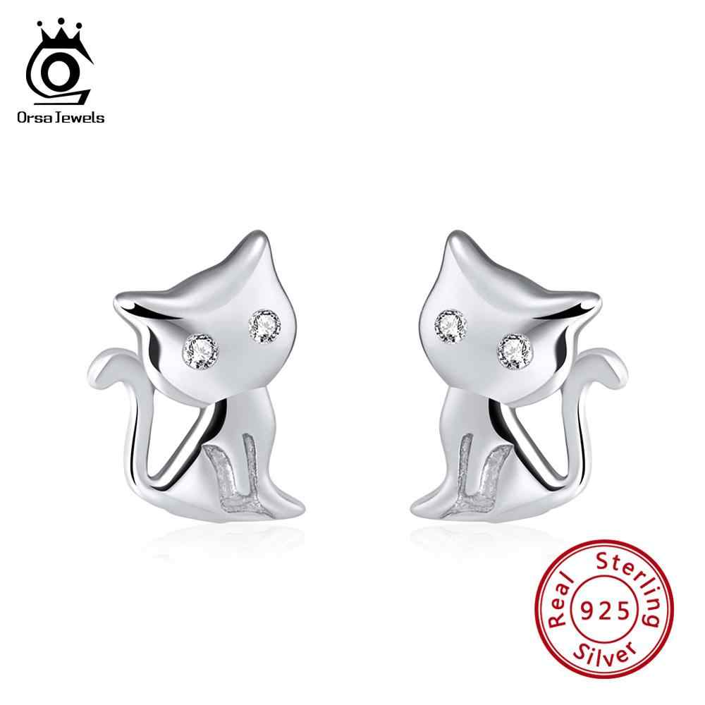 ORSA JEWELS Women Stud Earrings Cat Shape 925 Sterling Silver Romantic 11 MM Cats Earring Female Club Party Jewelry Gift SE107
