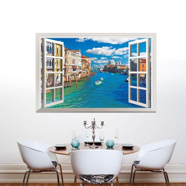 [SHIJUEHEZI] City River 3D Landscape Wall Sticker Fake Window Wall Poster  DIY Home Decor