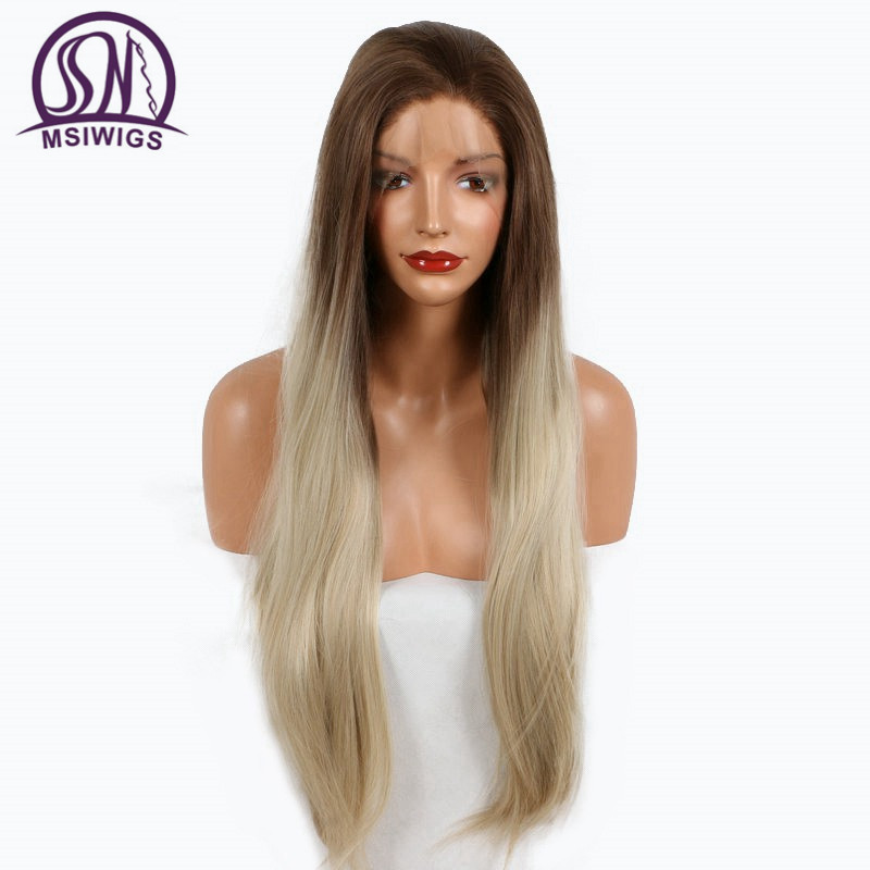 MSIWIGS Two Tone Colors Long Synthetic Lace Front Wigs Natural Straight Hair Ombre Brown Roots Light Blonde Wig Heat Resistant