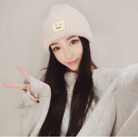 Casual Beanies For Men Women Fashion Knitted Winter Hat Solid Color Smile Pattern Hip Hop Skullies