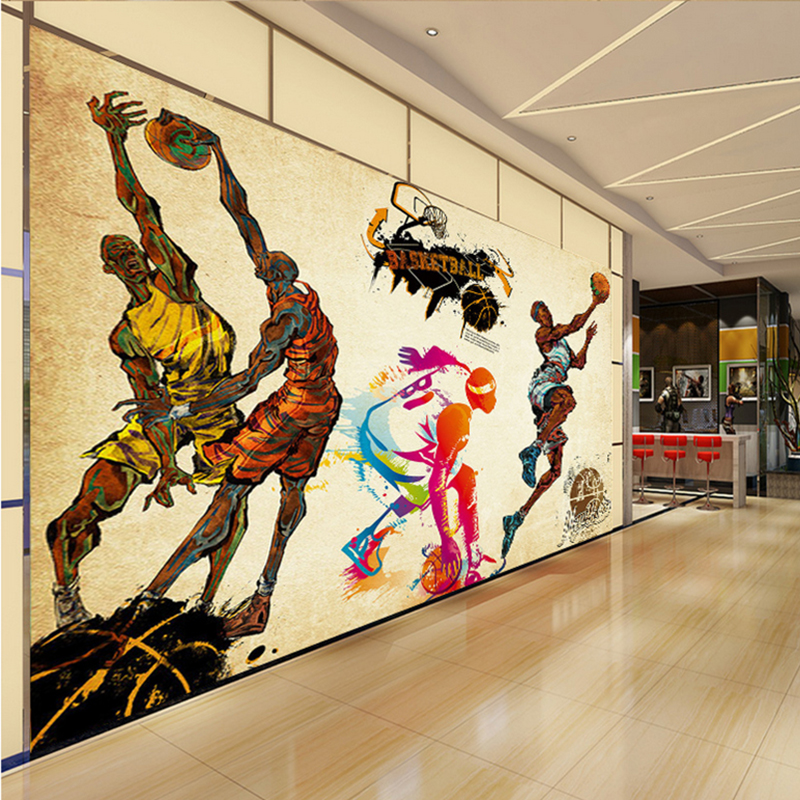 Online get cheap basketball wallpaper murals aliexpress for Basketball court mural
