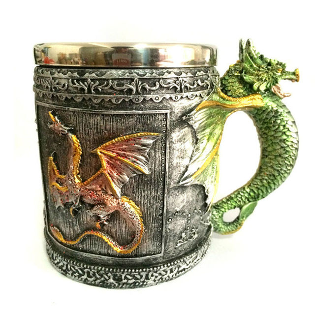 Double Wall Stainless Steel 3D Skull Mugs Fly Dragon Drinking Mug Cup Home Office Table Decor Geek Coffee Cup Christmas Gift 1